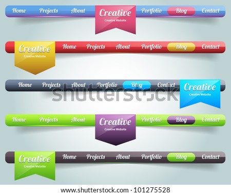 Modern Web Elements Vector Header & Navigation Templates Set - stock vector