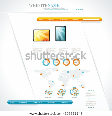 modern web site editable template - stock vector