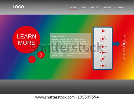 Modern Web Template - Rainbow Element is substituting your Image Slide Show, feel free to use it as it is with different gradients - stock vector