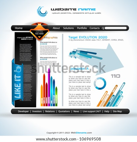 Modern web templave with paper style background and transparent shadows. Ideal for business website with a lot of design elemenets. - stock vector