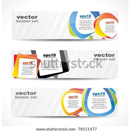 Modern website banner set with speech balloons and striped glossy backdrop - stock vector