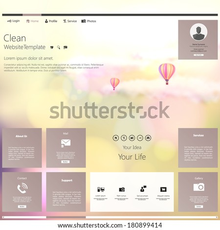 Modern Website Template  Bokeh vintage Style - stock vector