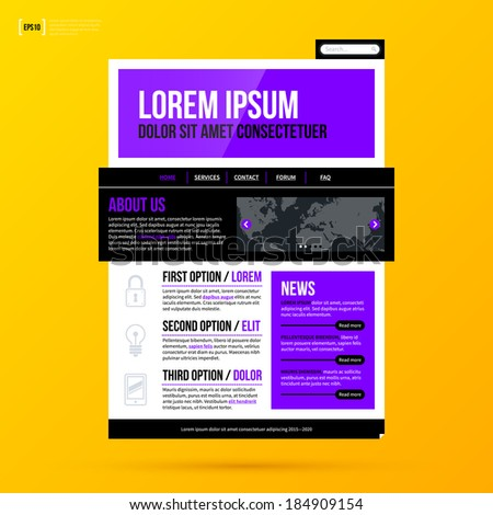 Modern website template on bright yellow background in modern corporate style. EPS10 - stock vector