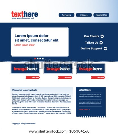 modern website template, red and blue home page design with space for text - stock vector