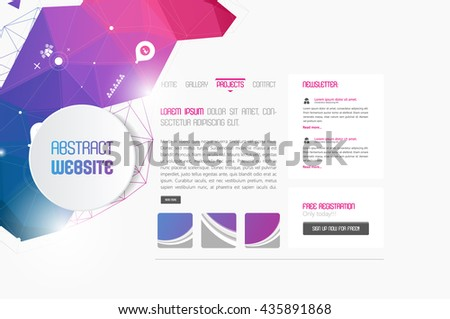 Modern website template with abstract polygon header.  - stock vector