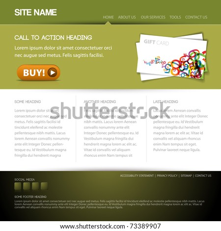 Modern website template with nice button - green - stock vector