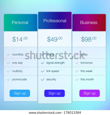 Modern website ui template design. Transparent app user interface price list widget buttons on minimalistic backdrop. Vector editable webdesign elements on blurred background with icons. - stock vector