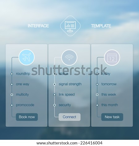 Modern website ui template design. Transparent app user interface wizard buttons on minimalistic backdrop. Vector editable webdesign elements on blurred background. Landscape background. - stock vector