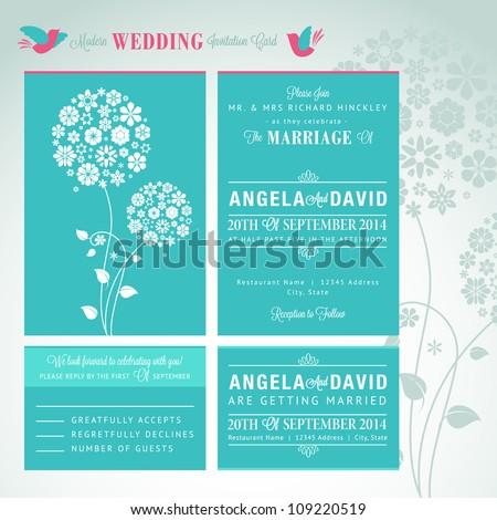 Modern wedding invitation card set stock vector 109220519 shutterstock modern wedding invitation card set stopboris Images