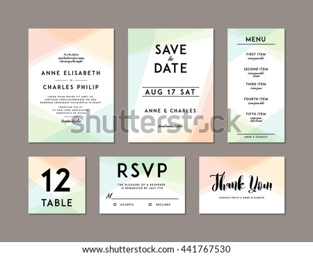Modern Wedding Set template. Modern design. Wedding Invitation, Save the Date, Menu, Table card, RSVP, and Thank You card design with modern abstract background. Tradition decoration for wedding - stock vector