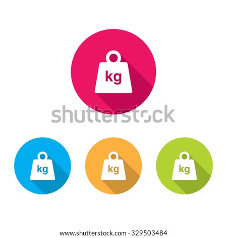 Modern Weight Icons With Long Shadow - stock vector
