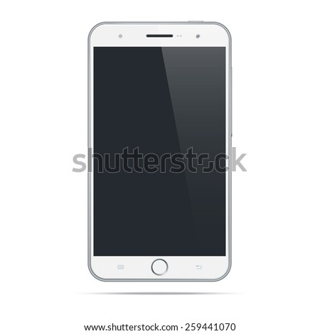 Modern white android mobile phone / tablet / smartphone  isolated on white background.  Blank screen - stock vector