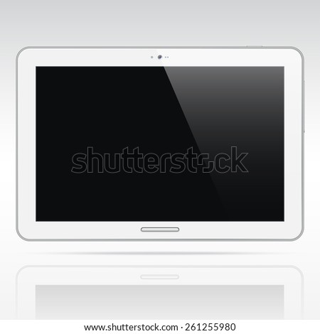 Modern white android tablet computer isolated on light background. Blank horisontal screen. Realistic vector illustration - stock vector