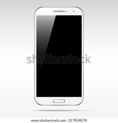Modern white touchscreen android cellphone tablet smartphone isolated on light background.  Empty screen - stock vector