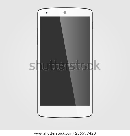 Modern white touchscreen cellphone. Tablet smartphone isolated on white background. Vector template - stock vector