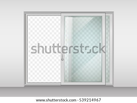 modern wide sliding door with transparent glass vector graphics the interior of the room