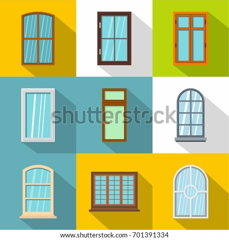 modern windows wood windows frames isolated set exterior stock vector 517583344