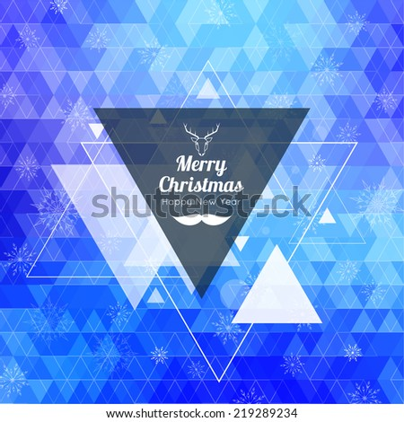 Modern winter abstract background with snowflakes, hipster triangle pattern, polygon mesh, bokeh, stars and sparks. Happy New Year and Merry Christmas. Greeting card, deer head and mustache - stock vector