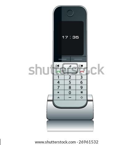 Modern wireless phone, vector illustration. - stock vector
