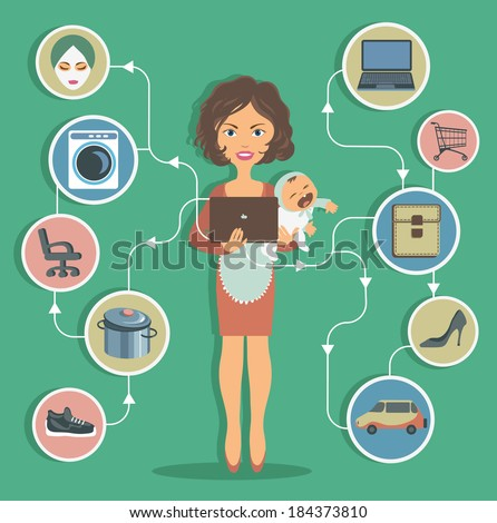 modern woman with a baby leads an active lifestyle - stock vector