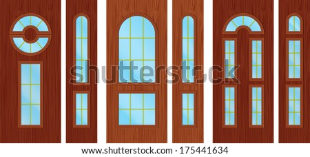 Modern wooden doors - stock vector