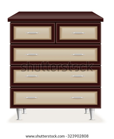 modern wooden furniture chest of drawers vector illustration isolated on white background - stock vector