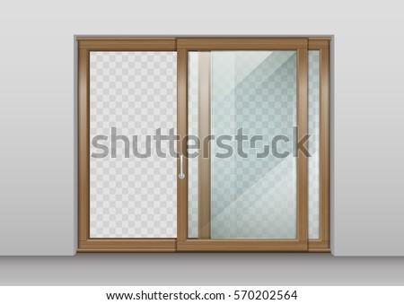 modern wide sliding door transparent glass stock vector 539214967 shutterstock. Black Bedroom Furniture Sets. Home Design Ideas