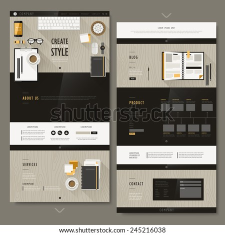 modern workplace scene one page website design in flat design  - stock vector