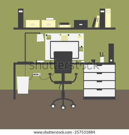 Modern workplace with big table and drawers, chair, lamp, monitor, mouse, cup, shelves, books, boxes, folders, board, notes, bin and green walls and brown floor as background. Flat style illustration - stock vector