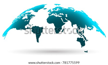 Modern world map isolated on white stock photo photo vector modern world map isolated on white background in bright aquamarine color digital progress concept gumiabroncs Image collections