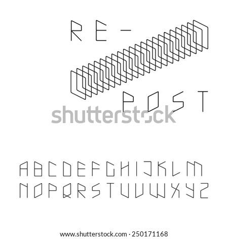 Modern zip code style sans serif font in uppercase - stock vector