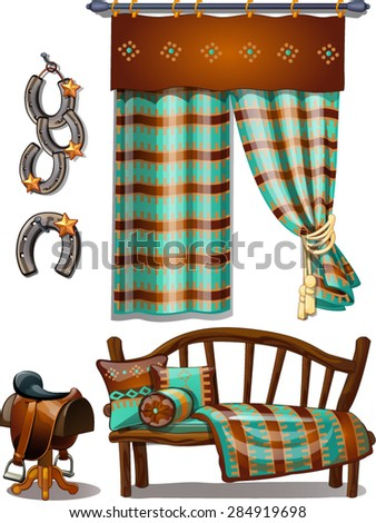 modest interior in the style of Western - stock vector