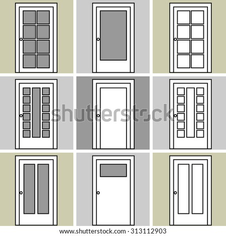 Set of 9 wooden doors drawings. Architectural collection. Black and white.  sc 1 st  Shutterstock & Modular Set 9 Wooden Doors Drawings Stock Vector HD (Royalty Free ...