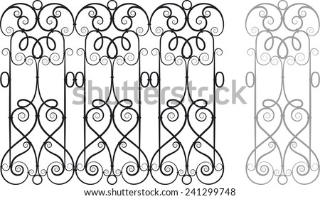 Modular Wrought Iron Railing or Fence - stock vector
