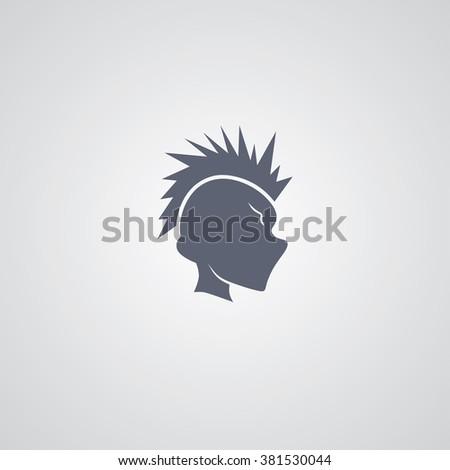 mohawk guy logotype - stock vector