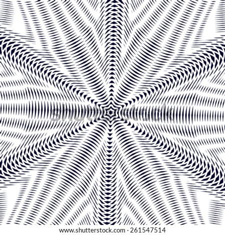Moire pattern, op art background. Hypnotic backdrop with geometric black lines. Abstract tiling. - stock vector