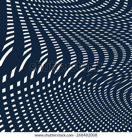Moire pattern, op art background. Hypnotic vector backdrop with geometric black lines. Abstract tiling. - stock vector