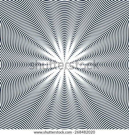 Moire pattern, vector op art background. Hypnotic backdrop with geometric black lines. Abstract tiling. - stock vector