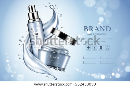 Moisturizing cosmetic products ad, light blue bokeh background with beautiful containers and watery texture in 3d illustration