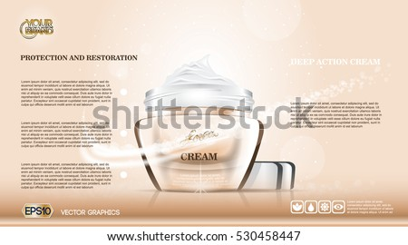 Moisturizing Cream cosmetic ads template. Hydrating facial lotion. Mockup 3D Realistic illustration. Sparkling background trendy pastel colors