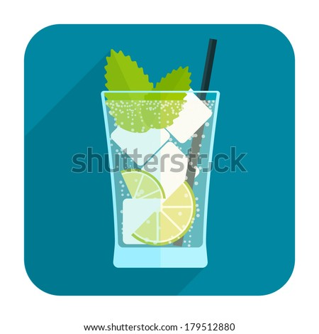 Mojito cocktail icon. Rounded square web button on white background. Simple minimalistic flat long shadow style. Vector illustration. Internet design graphic element - stock vector