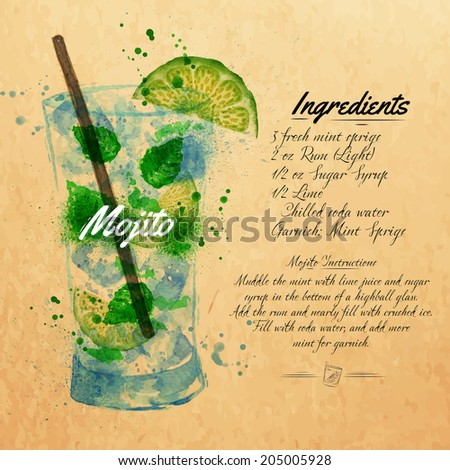 Mojito cocktails drawn watercolor blots and stains with a spray, including recipes and ingredients on the background of kraft - stock vector