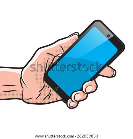 Mokup with Semitransparent Smartphone in Hand - stock vector