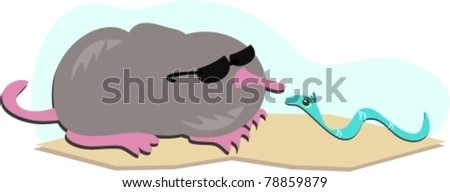 Mole and Blue Worm - stock vector