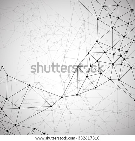 Molecular abstract structure illustration with gray background - stock vector
