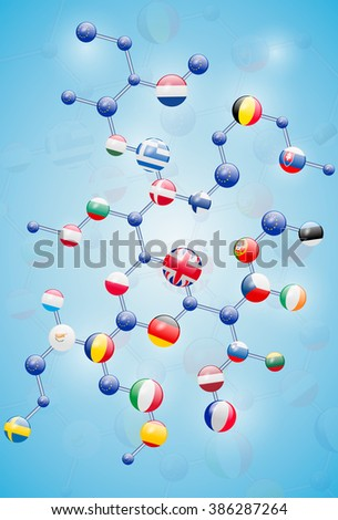 Molecular model with flags - stock vector