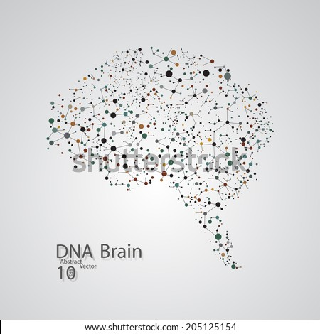 Molecular structure in the form of brain,  vector elegant illustration - stock vector