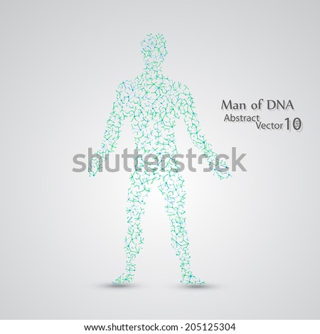 Molecular structure in the form of man,  vector elegant illustration