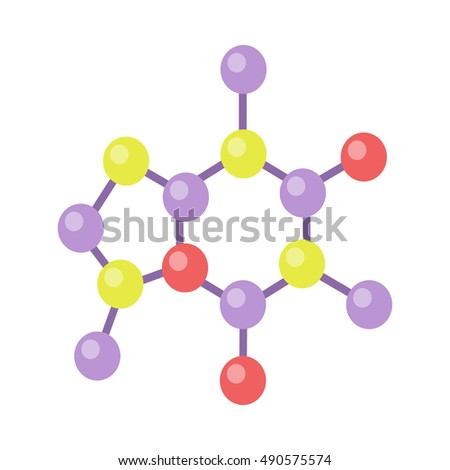 Molecular structure vector in flat style. Nuclear lattice and quantum world model. Physical object, chemical element. Illustration for scientific and educational concepts. Isolated on white background
