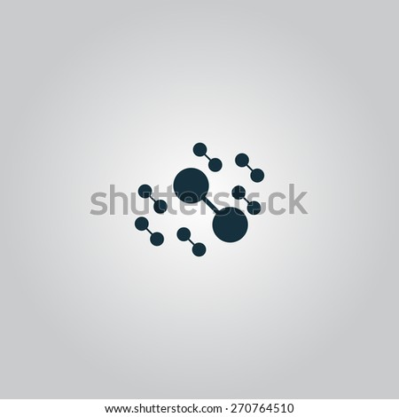 Molecule atom. Flat web icon or sign isolated on grey background. Collection modern trend concept design style vector illustration symbol - stock vector